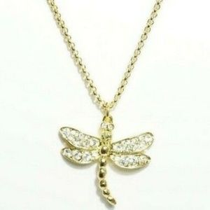 KENNETH LANE Gold Tone Dragonfly Pendant Necklace